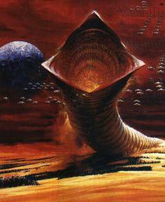 John Berkey's stunning European Dune poster David Lynch, Dune Der Wüstenplanet, John Berkey, Dune Frank Herbert, Film Science Fiction, Dune Art, Jodorowsky's Dune, Arte Tribal, Famous Artwork