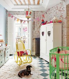 'small rm./ big panache', budget DIY inspiration; paint a couple of (sturdy/garage sale finds) Classic pcs. in a Kid friendly palette,