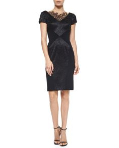 Short-Sleeve Lace-Detail Sheath Cocktail Dress, Size: 8, Black - Theia