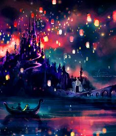 Tangled- like, idea of a bunch of candles floating in different colors in the sky=LOVE!!!