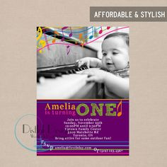 Music Birthday Party Invitation First Birthday Photo Picture - Digital 5x7 CUSTOMIZE the COLORS and WORDING. $16.45, via Etsy.