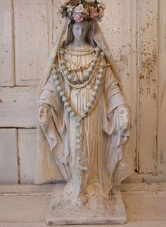 Virgin Mary statue w/ halo crown shabby cottage chic Madonna figure hand painted rosary tambour lace French Nordic decor anita spero design Religious Images, Religious Icons, Religious Art, Blessed Mother Mary, Blessed Virgin Mary, Jungfrau Maria Statue, Madonna, Virgin Mary Statue, Christian Artwork
