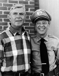 Andy Griffith and Don Knotts posing in a 1986 photo. Both actors starred in 'The Andy Griffith Show.' The televisions show's fictional Mayberry was modeled after Griffith's hometown of Mount Airy, N.C.