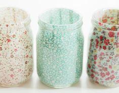 #floral print mason jars #wedding reception decor #rustic wedding DIY
