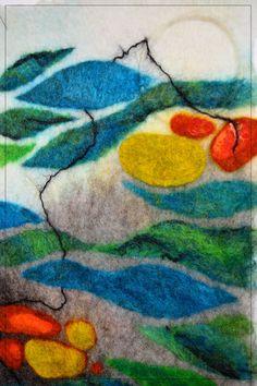 Oil Spill-DETAIL- Handmade felt wall hanging- 100% local Romney wool, Norwegian yarn. Felt Wall Hanging, Oil Spill, Handmade Felt, Wool, Detail, Painting, Art, Hands, Art Background