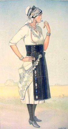 NICOLAS SPERLING Bride's Dress (Macedonia, Roumlouki) 1930 ilithograph on paper after original watercolour Greek Traditional Dress, Traditional Outfits, Ancient Greek Costumes, Greek Dress, Greek Culture, Folk Dance, Costume Collection, Greek Clothing, Ethnic Dress