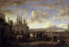 """Setting Out on the Hunt Philips Wouwerman, 1660-1665 oil on oak panel, 18 x 25 """" Gemäldegalerie Alte Meister, Dresden photo in public domain from Wikimedia Commons, source Web Gallery of Art"""