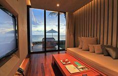 Neutral living room sliding glass doors