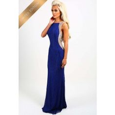 Limited Edition Lady Million Blue Embellished Lace Maxi Dress