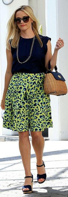 Who made  Reese Witherspoon's blue wedge sandals, woven handbag, yellow print skirt, and gold jewelry?