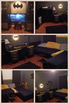 Second Living Area Converted Into Boys Batcave Bedroom