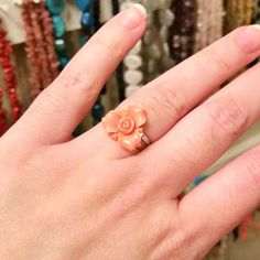 Ring A Day Challenge 2015 Day 23: Coral Colored Flower Cabochon Adjustable Ring. See the entire project at https://www.facebook.com/media/set/?set=a.750193175076911.1073741853.231724523590448&type=3