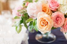 Peach and Coral Wedding Floral Bouquet