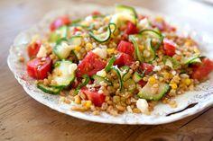 Toasted Barley Salad with Tomato, Zucchini & Caramelized Corn