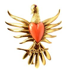 TIFFANY & CO JEAN SCHLUMBERGER Coral Heart Bird Yellow Gold Brooch Pin | From a unique collection of vintage brooches at http://www.1stdibs.com/jewelry/brooches/brooches/
