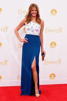 Anna Gunn wore Jenny Packham on the red carpet at the Emmys tonight.