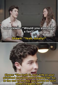 And finally, when he gave this response when asked if he would date a fan or not: 19 Reasons Why Shawn Mendes Is A National Treasure And We Need To Protect Him Shawn Mendes Memes, Shawn Mendes Imagines, Shawn Mendes Family, Cameron Dallas, Fangirl, Shawn Mendes Wallpaper, Mendes Army, Daddy, Magcon Boys