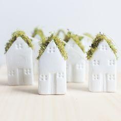 Miniature Moss Roof Clay Turf House Ornament Handmade by KilkennyCat Art, $16.00 USD