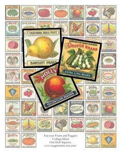 Collage Sheet - Eat Your Fruits and Veggies One Inch Squares - Digital Download - Printable. $4.00, via Etsy. (for use in that popular glass magnet tutorial)