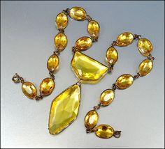 Citrine Crystal Glass Czech Necklace Art Deco Jewelry by boylerpf, $275.00