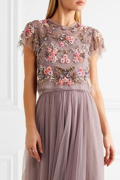 Needle & Thread - Embellished Tulle Top - Lavender