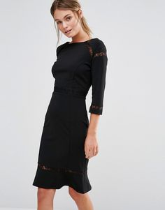 Image 1 ofPaper Dolls Midi Pencil Dress with Lace Inserts and Frill hem
