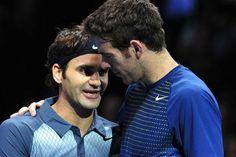 """Juan Martín Del Potro, tras la derrota: """"Yo veo al Federer de siempre"""" El abrazo final de dos gladiadores tras la batalla de Londres. Foto: AFP"""