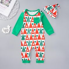 1 x Kids Romper. Features: One-piece, Soft, Christmas Tree Print, Button Closure. [Our Size Length: Bust: Shoulder: Sleeve: (Approx. Baby Boy Jumpsuit, Baby Boy Romper, Jumpsuit Outfit, Baby Boy Christmas, Christmas Tree, Rompers For Kids, Summer Romper, Outfits With Hats, Baby & Toddler Clothing