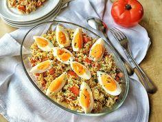 Una sostanziosa #insalata di #riso con #uova in pirofila trasparente #ricetta #recpe