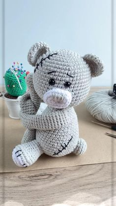 Crochet Teddy Bear Pattern Free, Teddy Bear Patterns Free, Crochet Patterns Amigurumi, Crochet Blanket Patterns, Crochet Dolls, Crochet Teddy Bears, Amigurumi Toys, Stuffed Animal Patterns, Cute Crochet
