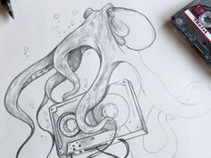old school octopus love Inspiration: 23 Beautiful Drawings from Dribbble line draw