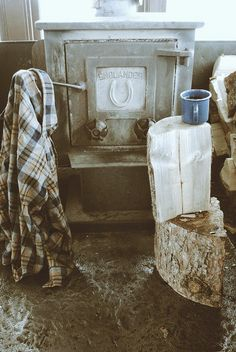 These are a few of my favorite things...plaid. And coffee. And wood burning stoves.