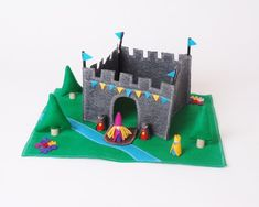 Large King's Castle Playset - Wood and Felt Includes figures - Felt Toy - Felt Castle - Unique Gift