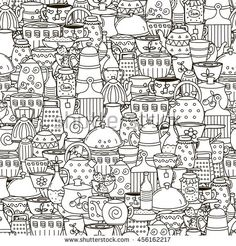 Doodle dishes seamless pattern. Black and white background with cups, pans, teapots and other kitchen things. Great for coloring book, wrapping, printing, fabric and textile. Vector illustration