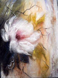 Картины цветов ручной работы. Ярмарка Мастеров - ручная работа. Купить Картина из шерсти Чайная роза. Handmade. Картины из шерсти