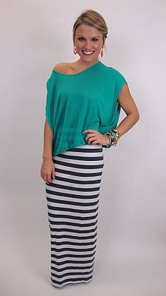 Loving this look... knit maxi skirt with a slouchy tee. $39