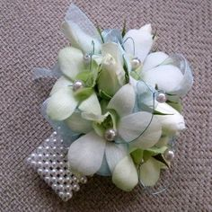 prom corsages, the latest designs | White Orchids with Band Pearls Prom Corsage [PROM173] - $39.99 : Terra ...