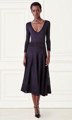 Knit Silk V-Neck Dress - Collection Apparel Short Dresses - RalphLauren.com