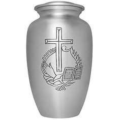 Funeral Urn by Liliane  Hand Made in Aluminum with Delicate Cross Etching  Display Burial Urn at Home or in Niche at Columbarium  Fits cremated remains of adults  Peaceful Model * Check out the image by visiting the link.