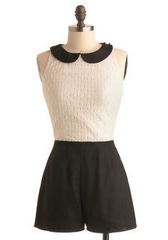 To a Tea Romper. Refined and romantic, no romper suits your style quite like this monochrome look! #white #modcloth