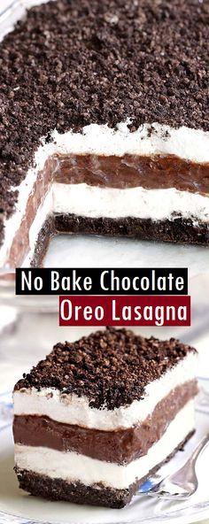 No Bake Chocolate Oreo Lasagna - Dessert & Cake Recipes - Dessert Recipes - Torten Chocolate Lasagna Dessert, Oreo Desserts, Dessert Cake Recipes, Chocolate Cheesecake, No Bake Desserts, Cheesecake Recipes, Chocolate Recipes, Delicious Desserts, Cake Chocolate