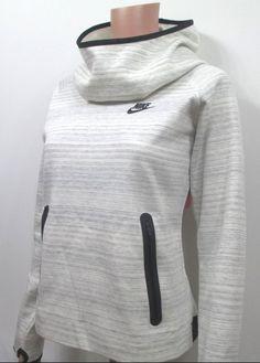 Nike Tech Fleece Hoodie V2 Women's Size XL Sail White Black M Funnel Neck #Nike #CoatsJackets
