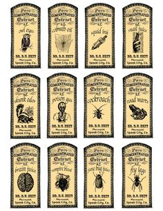 Image detail for -. Potions and Fantasy Apothecary Labels for Halloween Fun Halloween Apothecary Labels, Halloween Bottle Labels, Halloween Potions, Fete Halloween, Holidays Halloween, Vintage Halloween, Halloween Crafts, Halloween Decorations, Halloween Magic