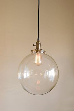 Hanging Pendant Light Fixture with 12 Glass Globe Shade