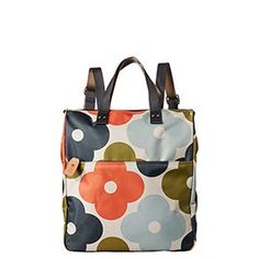 Orla Kiely Giant Flower Spot printed fabric backpack with leather trims and double sided webbing for adjustable shoulder straps. Polka Dot Backpack, Polka Dot Bags, Floral Backpack, Backpack Travel Bag, Orla Kiely Shoes, Orla Kiely Bags, My Bags, Purses And Bags, My Style Bags