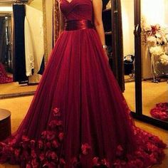 Burgundy A-Line Prom Dress, Many Layers Tulle Prom Dress, Handmade Flowers Tulle Prom Dress, Free Custom Made Prom Dress