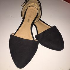 Black pointed toe flats Black pointed toe suede flats. Gold buckle on back. Great condition. Charming Charlie Shoes Flats & Loafers