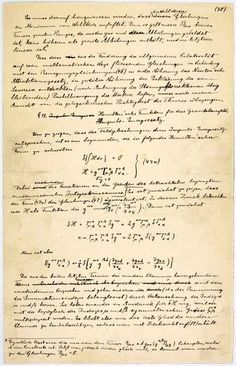 Einstein's manuscript explaining his Theory of General Relativity (1916).