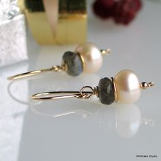 Pearl Labradorite Gold Earrings Freshwater Pearl by WillOaksStudio