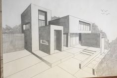 Modern House Architecture Drawing Sketchbooks, Architecture Concept Drawings, Architecture Design, House Design Drawing, House Drawing, Architect Drawing, Minimalist House Design, Building Design, Architecture Drawing Art